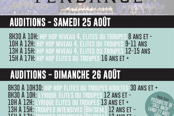 Auditions (Fiche & horaire)