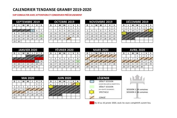 CALENDRIERS 2019-2020